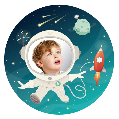 space kid wall decal and mirror