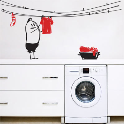 laundry wally wall decal