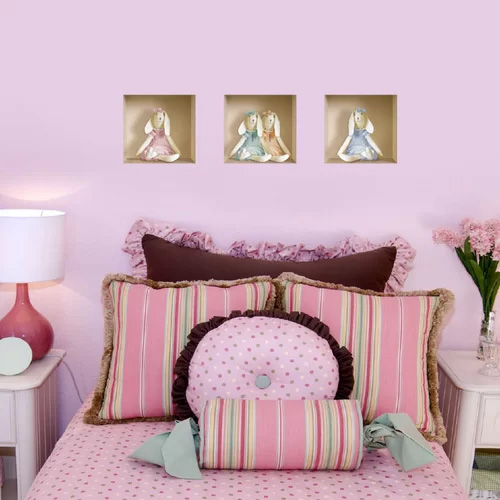 3D Effect Stuffed Bunny Wall Decal