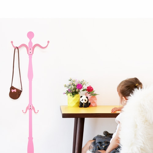 Pink Coat Rack Wall Decal