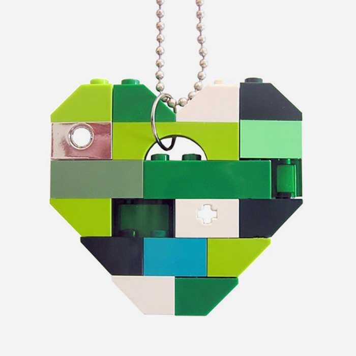 Lego Heart Necklace - Green