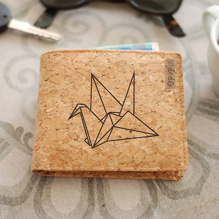 Cork Wallet - Origami Bird