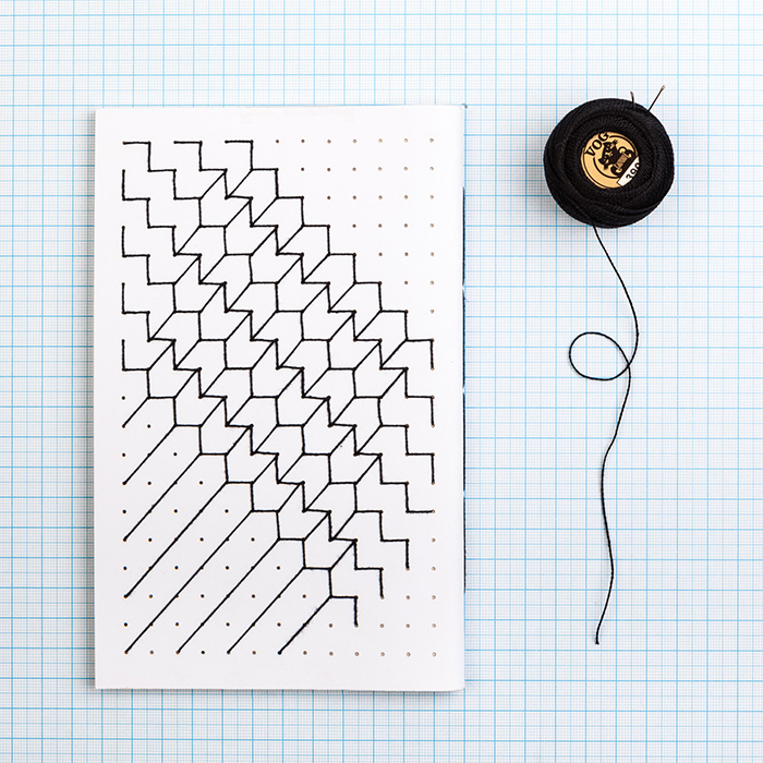 Hand Embroidered A5 notebook - Black thread
