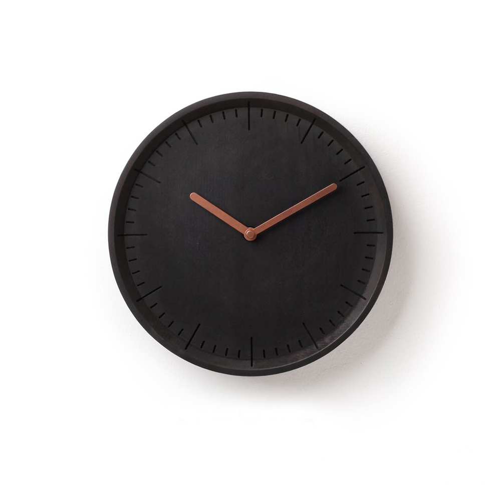 Meter - Charcoal Solid Wood Wall Clock
