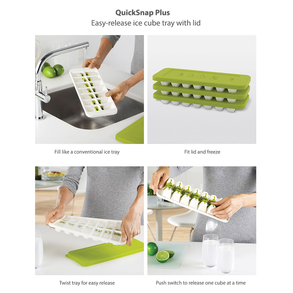 QuickSnap Plus - Easy-release ice cube tray with lid