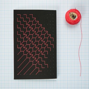 Hand Embroidered A5 notebook - Red thread