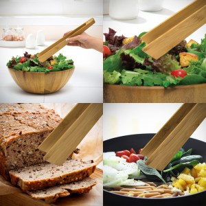Bamboo Kitchen Tongs With Magnet