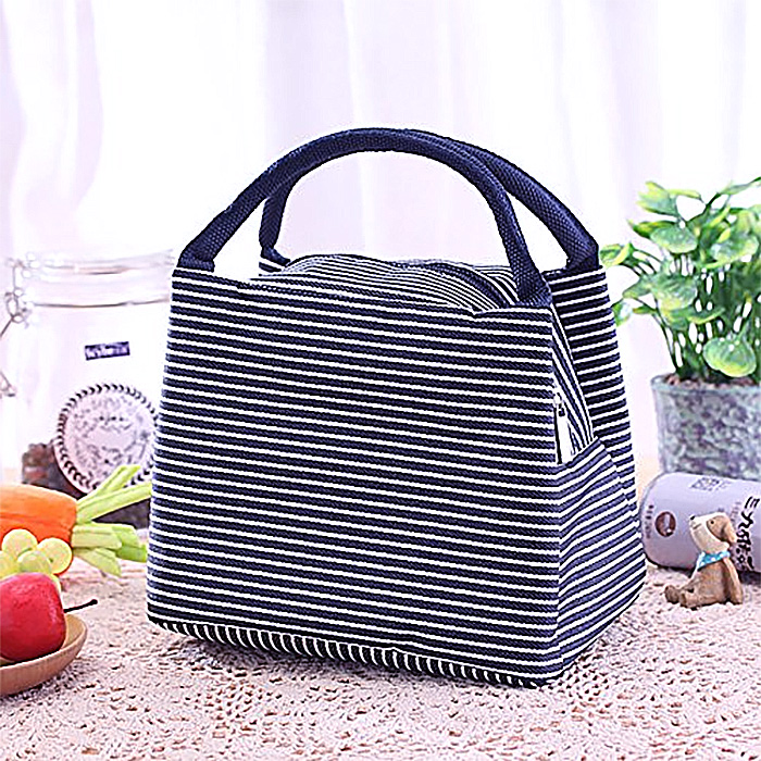 Striped Thermal Lunch Bag