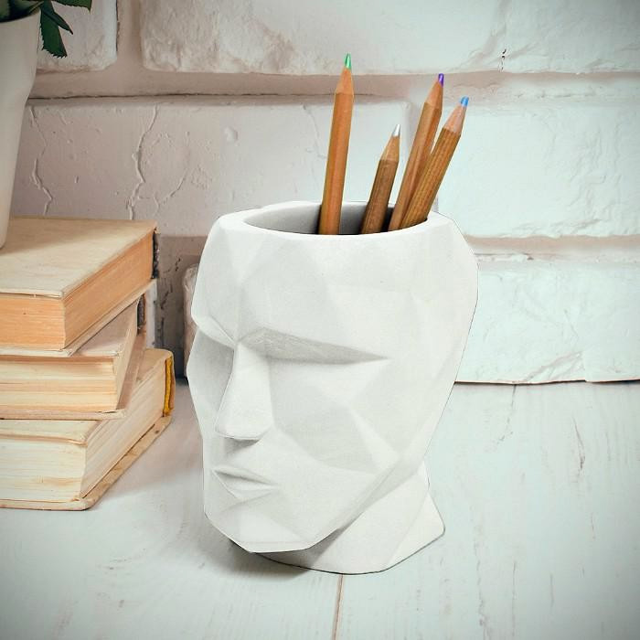 The Head -  Concrete Pen Cup -White
