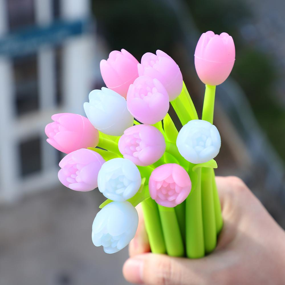 3 Tulip Pens - UV Light Color Changing Flower Pens