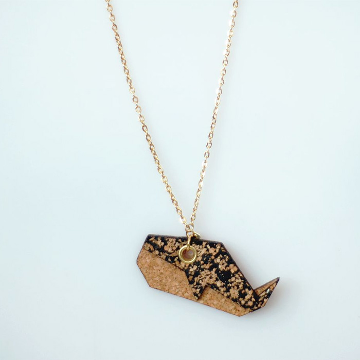 Whale cork necklace