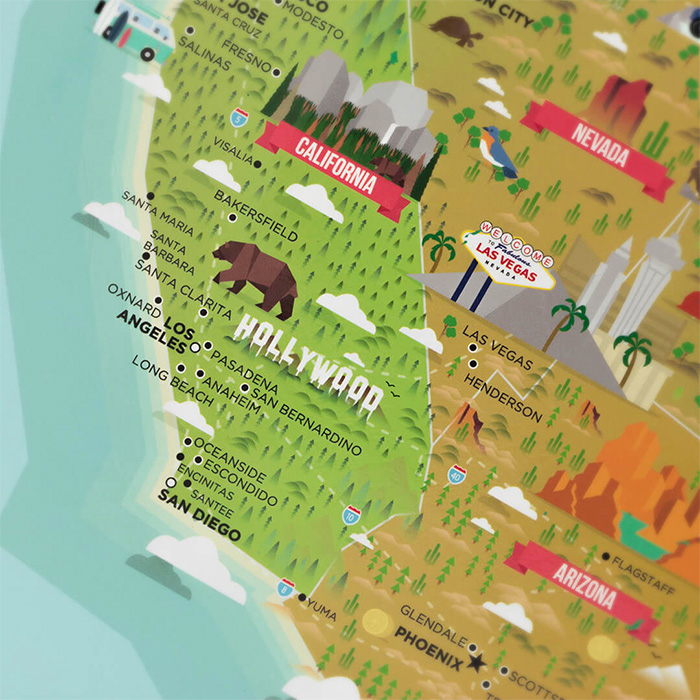 Scratch Map USA Landmarks - Poster Paper Track Your Travels New ...